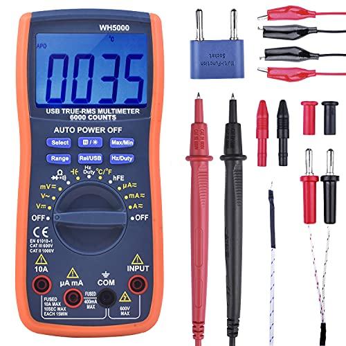 kuman Digital Multimeter, True RMS6000 zählt Multimeters Manuelle und Auto-Rang, Misst Spannung, Strom,...