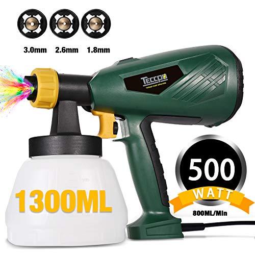 Farbsprhsystem, TECCPO 500W HVLP Elektrische Spritzpistole, 800ml/min, 1300 ml mit 3 Betriebsarten und 3...