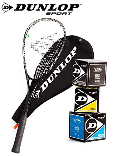 _Dunlop Squashset: Squashschläger BIOTEC LITE TI Silver Deluxe (1x Silver Deluxe Set inkl. 3 Bälle)