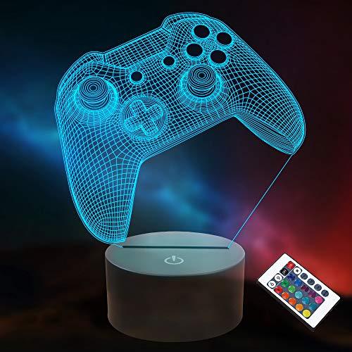 3D Gamepad Nachtlicht, Lightzz Game Console Illusionslampe mit Fernbedienung + Touch 16 Farbblinken Wechseln +...