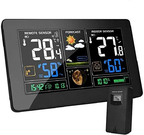 vonivi EU Adapter Wetterstation mit Außensensor Funk Digitales Farbdisplay DCF-Funkuhr Multifunktionale...