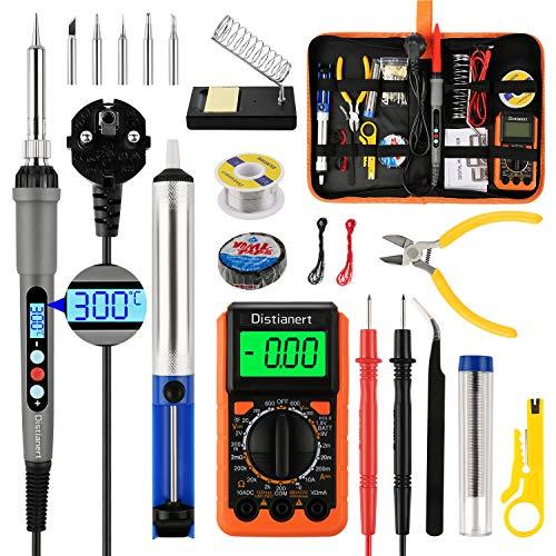 Distianert Lötkolben Set Elektronik, Lötkolben LED 60W 180-500℃ Einstellbarer Temperatur 19PCS with...