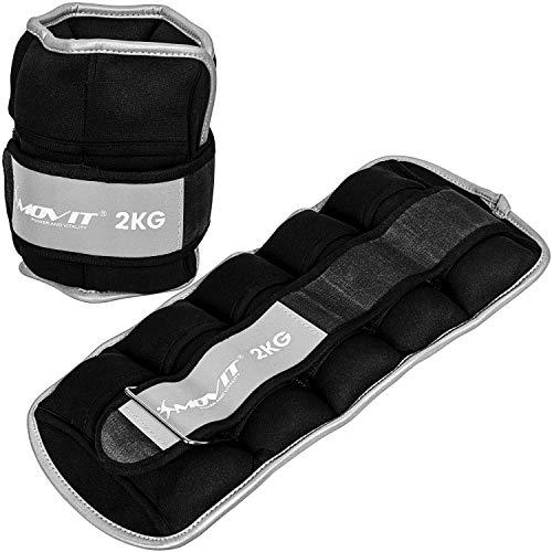 Movit® 2er Set Gewichtsmanschetten Neopren mit Reflektormaterial 2X 2,0kg, verstellbar, inkl. 5...