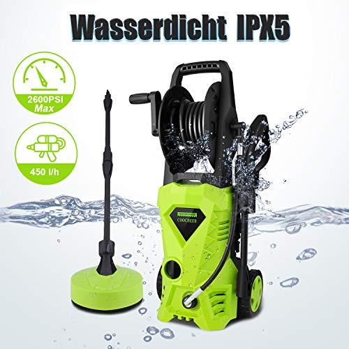 COOCHEER Hochdruckreiniger Elektrischer Hochdruckreiniger, Max. Druck: 135 Bar, 450 l/h, 6m Hochdruckschlauch,...