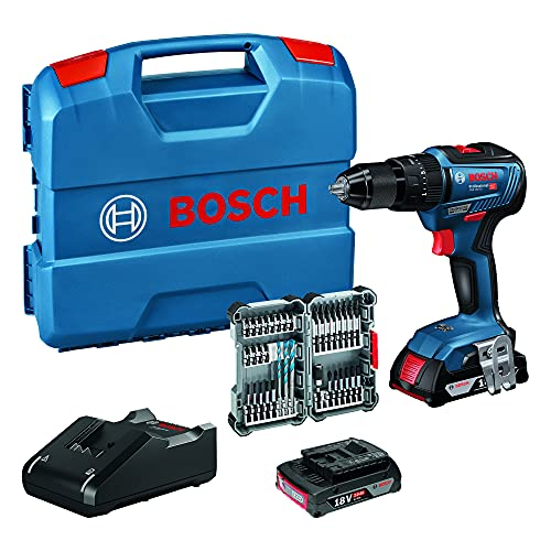 Bosch Professional 18V System Akku Schlagbohrschrauber GSB 18V-55 (max. Drehmoment 55 Nm, inkl. 2x2,0 Ah Akku...