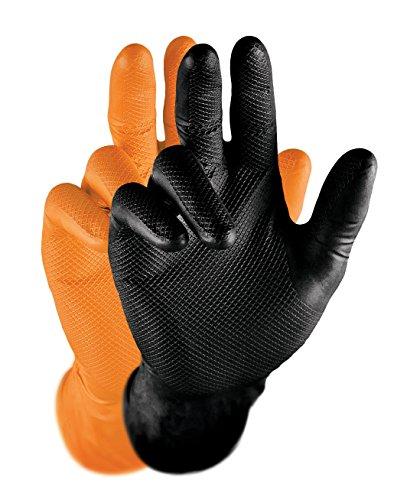 Grippaz Nitril-Handscuhe (50 Stück) latexfreie Arbeitshandschuhe extrem robust&reißfest, Orange, L