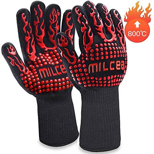 MILcea Grillhandschuhe 800 ° C Ofenhandschuhe BBQ Handschuhe Hitzebeständige Grillhandschuhe Backhandschuhe...