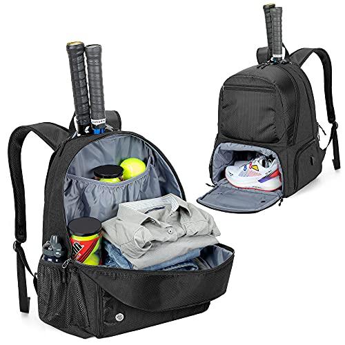 DSLEAF Tennis-Rucksack, Tennistasche für 2 Schläger mit Gepolsterten Schultergurten und Separates...