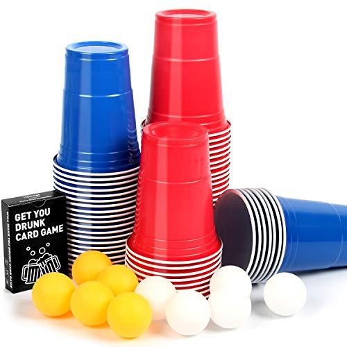 Upchase Beer Pong Becher, Bierpong Partybecher Sets (100 Becher 10 Bällen), 473ml Bierpong Cups mit Bällen,...