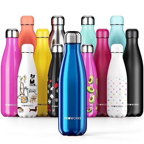 Proworks Edelstahl Trinkflasche   24 Std. Kalt und 12 Std. Heiß - Premium Vakuum Wasserflasche - Perfekte...