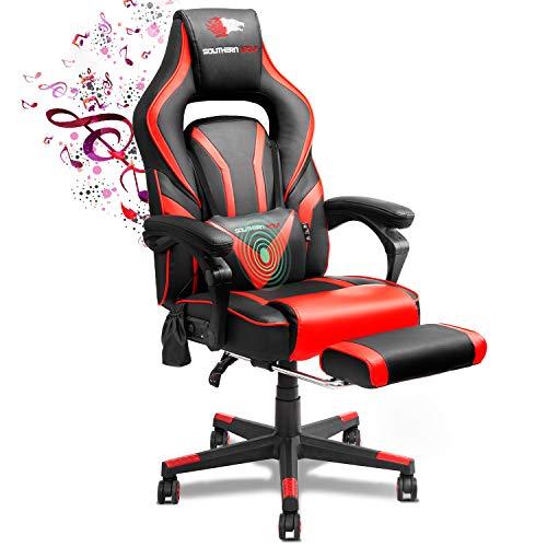 SOUTHERN WOLF Gaming Stuhl mit Fußstützen Bluetooth Lautsprecher, Gamingstuhl mit Massagefunktion, Racing...