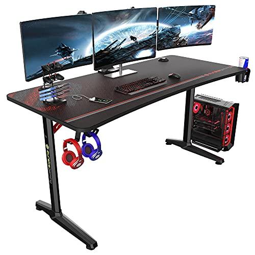 EUREKA ERGONOMIC Gaming Tisch Groß P60 Gaming Schreibtisch 152 * 70cm Gamer Tisch mit Getränkehalter und...