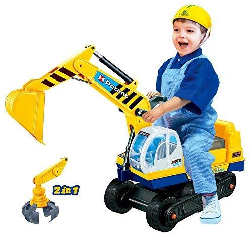 Dominiti e.K. Sitzbagger mit Zwei Schaufeln in gelb + Helm / Greifarm + Schaufel / Kinder-Fahrzeug / Rutscher...
