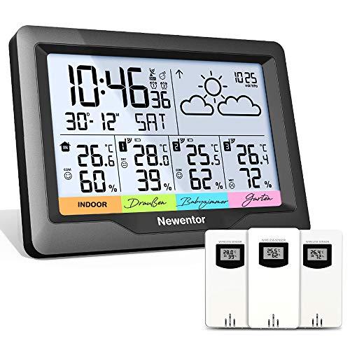 Newentor Wetterstation Funk mit 3 Außensensor Indoor Outdoor Thermometer Hygrometer DCF-Funkuhr...