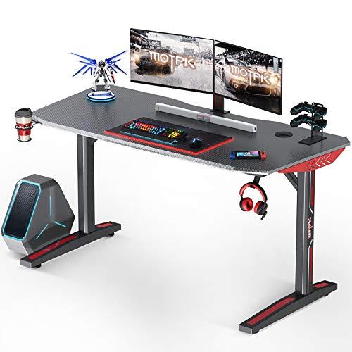 MOTPK Gaming-Schreibtisch, 152,4 cm, T-förmiger Computer-Gaming-Schreibtisch, Gamertische Pro...