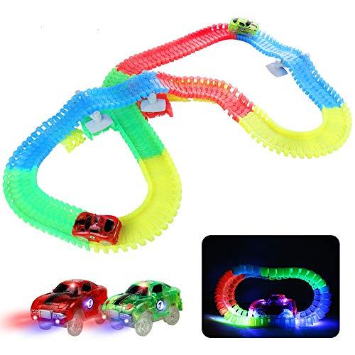 Fajiabao Leuchtende Autorennbahn Rennbahn Kinder Magische 240 Stück Glow Track Twister mit 2 Leucht Elektro...