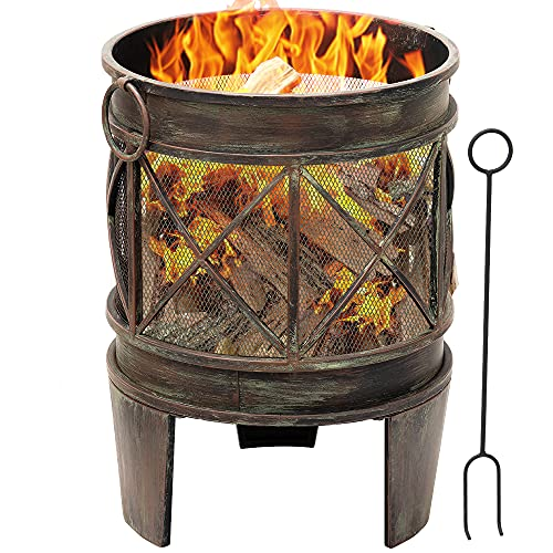 Amagabeli Feuerschale mit Funkenschutz 58 x 42 cm Feuerkorb mit Funkenschutz & Griffen Feuerschalen für den...