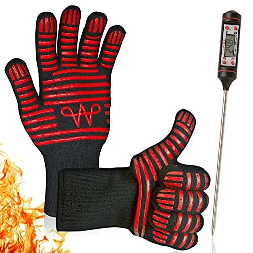 WERTA Grillhandschuhe inkl. Grill-Thermometer Digital - Hitzebeständige Handschuhe bis zu 800°C Größe 9 -...