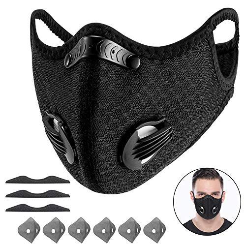 Yeswell 100 Packs Staubmaske Fahrrad Maske mit 6 Aktivkohlefilter Baumwolle und 2 Auslassventilen Allergie...