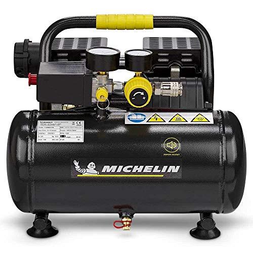 Michelin Druckluft Kompressor MX6 1 leise mobil tragbar ölfrei (Anschluss 230V, Max Druck 8 bar, Tank 6 l,...