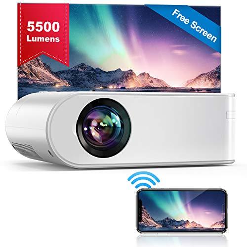 WiFi Beamer, YABER V2 Mini Beamer 5500 Lumen Unterstützt 1080P Full HD, HiFi-Sound, Projektor Kompatibel mit...
