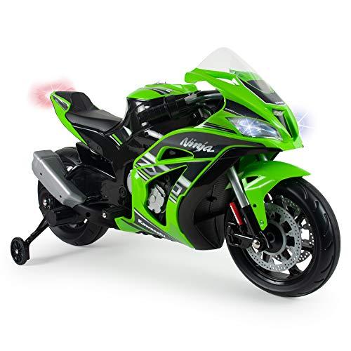INJUSA - Kindermotorrad Ninja Kawasaki ZX10 12V mit MP3 und Stabilisierungsrädern, Empfohlen für Kinder ab 3...