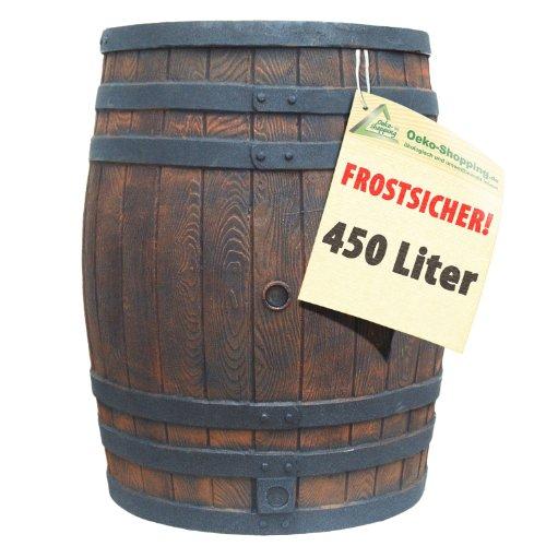 REGENTONNE EICHENFASS 450 Liter WASSERFASS Regenfass WASSERTONNE - FROSTSICHER REGENWASSERTONNE - Gartenfass...
