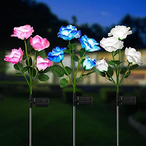 KOOPER Garten Solarlampen für Außen, 3 Stück Garten Solarleuchten mit 12 Größer Rosen Lichter, IP65...