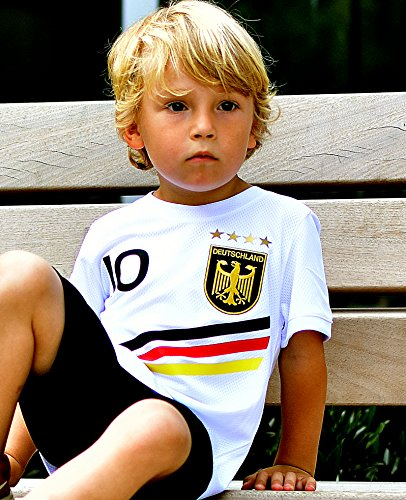 DE-Fanshop Deutschland Trikot mit GRATIS Wunschname Nummer Wappen Typ #D 2018 im EM/WM Weiss - Geschenke für...