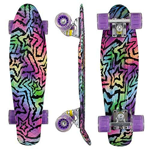 Morer Galaxy Pattern Skateboard, 55,9 cm LED Leuchtrollen, cooles Penny Board Komplett-Skateboards für...