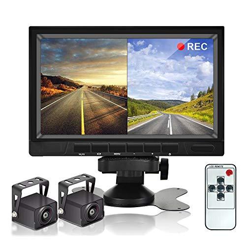 Dual Backup Camera System Videorekorder Kamera CAMECHO 7 Zoll 2 Split Monitor Wasserdicht Nachtsicht HD...