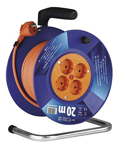 EMOS Kabeltrommel Schuko, 20m Kabel mit 1mm Querschnitt, 4 Steckdosen, Indoor Kabelrolle, Schutzklasse IP 20,...