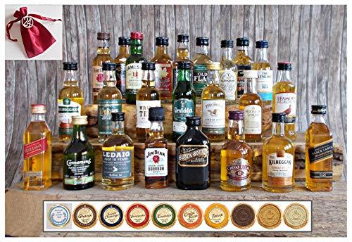 Adventskalender 24 Whisky Miniaturen + 24 Edel Schokoladen + 24 Satinbeutel + 24 Holznummern