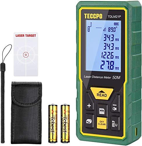 Laser Entfernungsmesser Distanzmessgerät 50m TECCPO Elektronischer Winkelsensor, Innendekoration,...