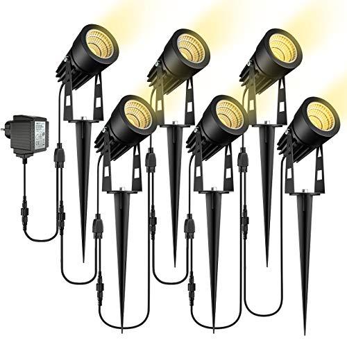 Gartenbeleuchtung, ECOWHO 6er Set Gartenleuchte mit Erdspie, IP65 Wasserdicht LED Gartenstrahler mit Stecker,...
