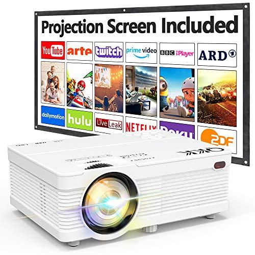 QKK Beamer Unterstützt 1080P Full HD, 5000 Lumen Mini Projektor mit Screen, Native 720P HD Video Beamer...