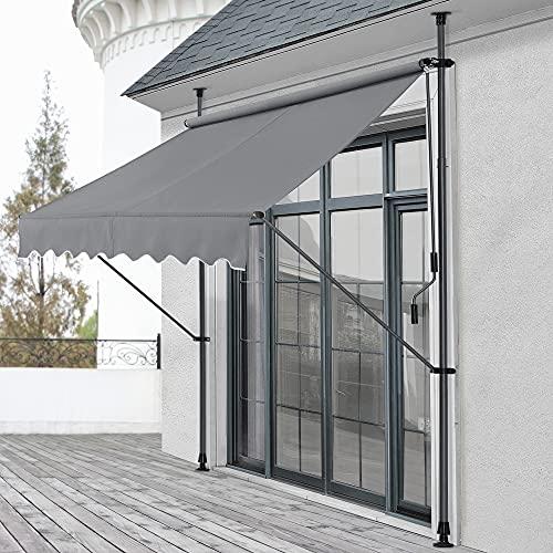 pro.tec Klemmmarkise 150 x 120 x 200-300cm Markise Balkonmarkise Sonnenschutz ohne Bohren Mittelgrau