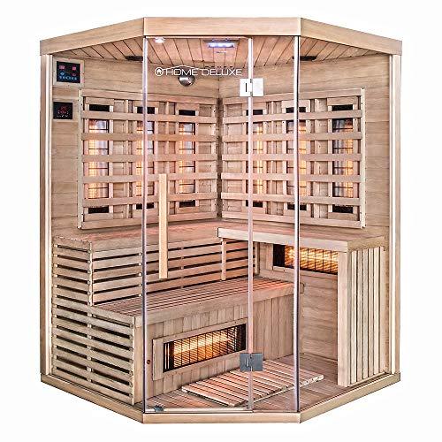 Home Deluxe – Infrarotkabine – Sahara XXL – Vollspektrumstrahler – Holz: Hemlocktanne - Maße: 150 x...