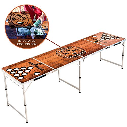 BeerBaller® Beer Pong Tisch Wood 'N' Ice mit Kühlfach & Becherhaltern - Klappbarer Bier Pong Tisch mit...