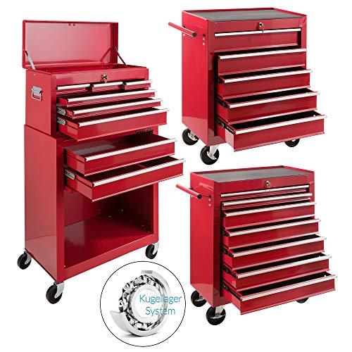 Arebos Werkstattwagen 9 Fächer rot (✓ zentral abschließbar, ✓ Abnehmbarer Werkzeugkasten, ✓ Massives...