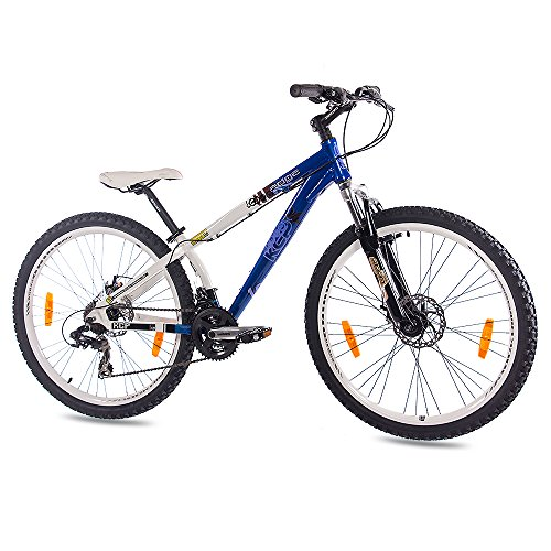 KCP 26' Dirtbike Mountainbike Fahrrad Edge ALU 21 Gang Weiss blau - 66,0 (26 Zoll)