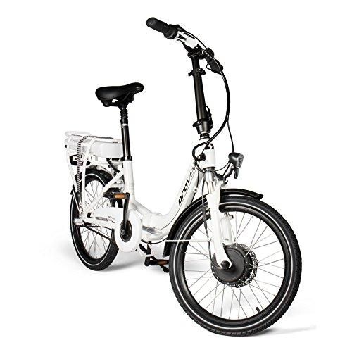 E-Bike Faltrad in weiß | Unisex | Elektrofahrrad mit 20 Zoll (50,8 cm) Reifengröße | Fahrrad mit 3 Gang...