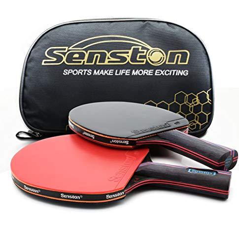 Senston Tischtennisschläger Professioneller Tischtennis Set 2 Tischtennisschläger und 1 Tasche Ideal für...