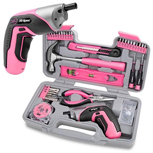 Hi-Spec 35-teiliges Pink-Rosa Heimwerker-Werkzeugset mit wiederaufladbarem USB-Akkuschrauber. Für Reparaturen...
