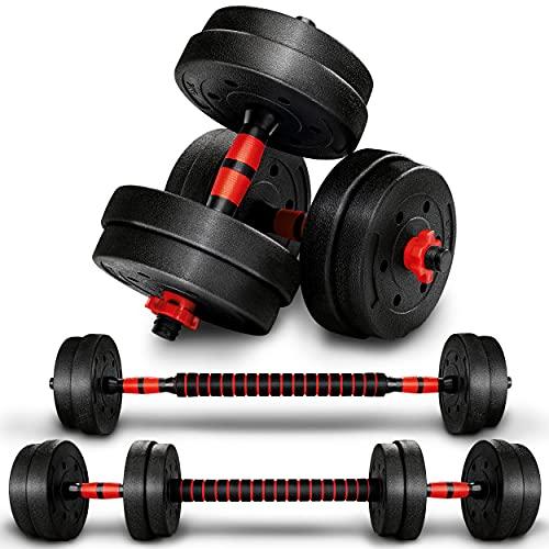 RE:SPORT 2 in 1 Hanteln Set 15 kg | Hantelset verstellbar | Kurzhantel & Langhantel | Sternverschlüsse &...
