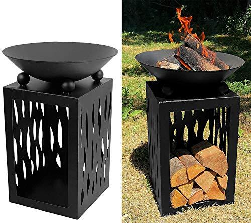 My-goodbuy24 Feuerschale Terrassenofen Metall - Höhe 63 cm - Gartenfeuer Grill Terrassenfeuer Korb Schale...
