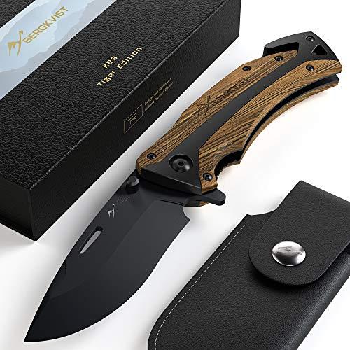 BERGKVIST® Klappmesser 3-in-1 K29 Tiger Messer I Scharfes Outdoor-Messer & Taschenmesser mit Holzgriff I...