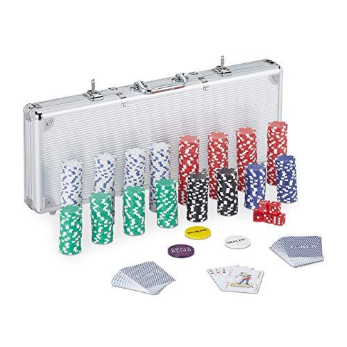 Relaxdays Pokerkoffer, 500 Pokerchips ohne Wert, 2 Kartendecks, 5 Würfel, Button Set, abschließbar,...