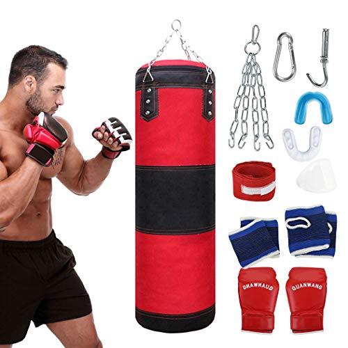 Fansport 11 PCS Boxsack-Set, Box-Set mit Boxhandschuhen Boxbandagen und Tasche, Mundschutz (100)