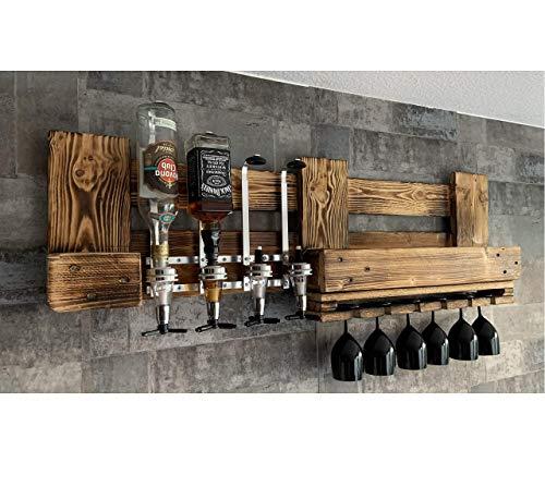 RUSTIKALE WANDBAR mit 4 Getränkespender, inkl. 4 Dosierer Weinregal Proportionierer für Cocktail´s, Gin,...